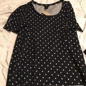 Cute semi-capped sleeve polka dot Ann Taylor tee